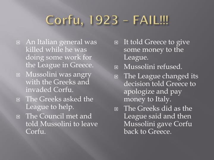 Corfu, 1923 – FAIL!!!