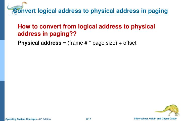 Convert logical address to physical address in paging