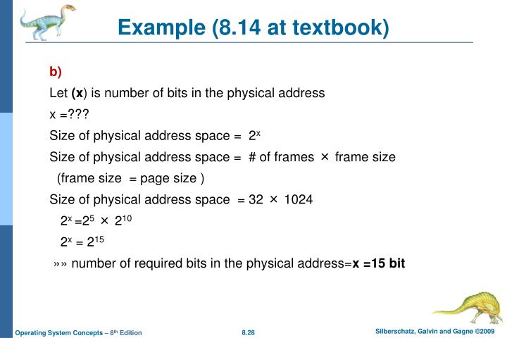 Example (8.14 at textbook)