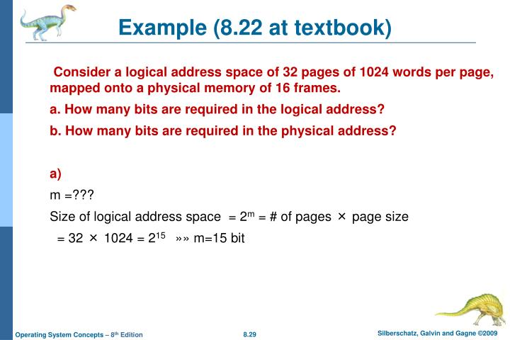 Example (8.22 at textbook)
