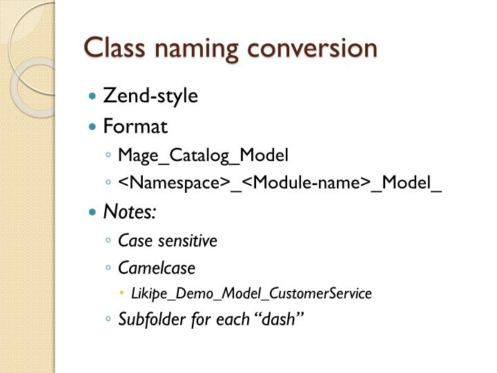 Class naming conversion