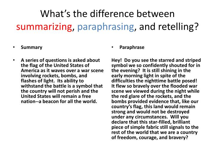 The only difference between paraphrasing and summarizing is that
