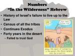 numbers in the wilderness hebrew