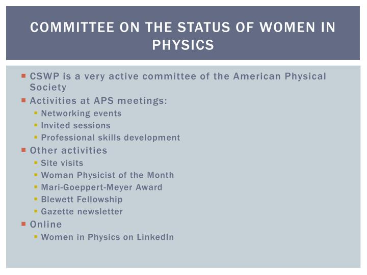 Committee on the Status of Women in Physics