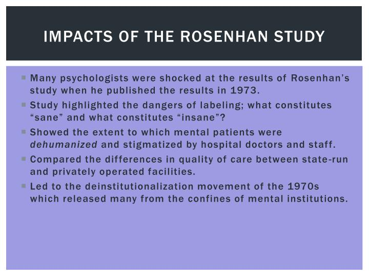 Impacts of the Rosenhan study