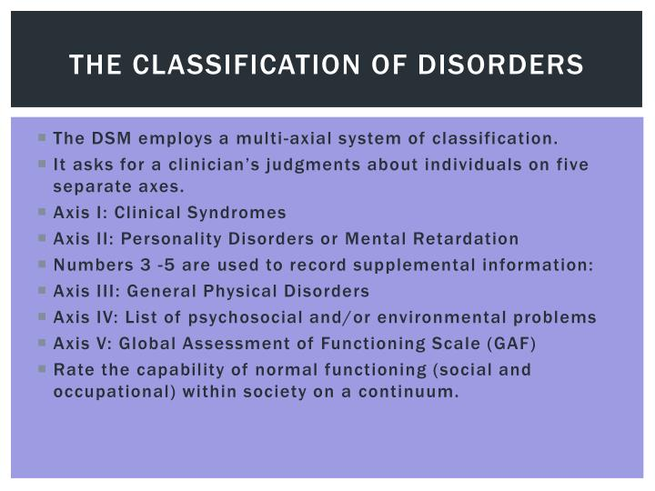 The Classification of Disorders