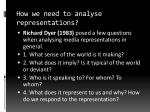 how we need to analyse representations