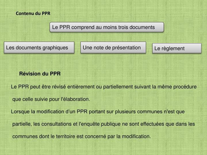 Contenu du PPR