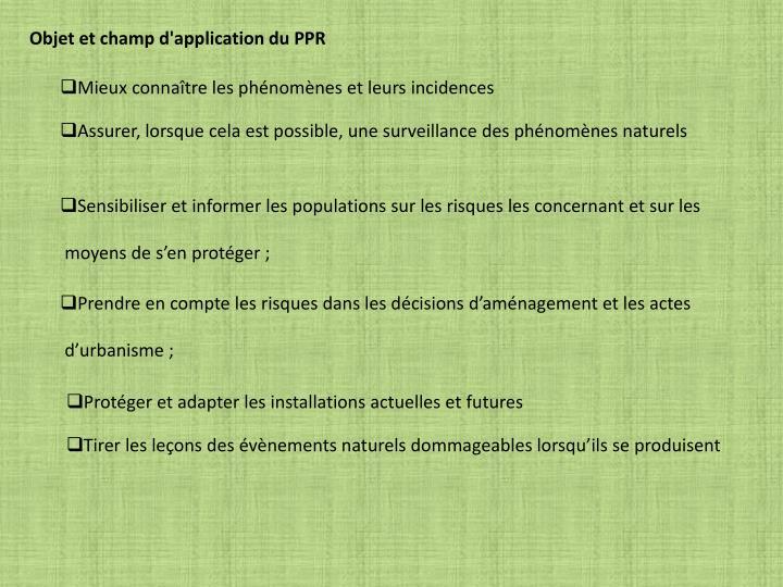 Objet et champ d'application du PPR