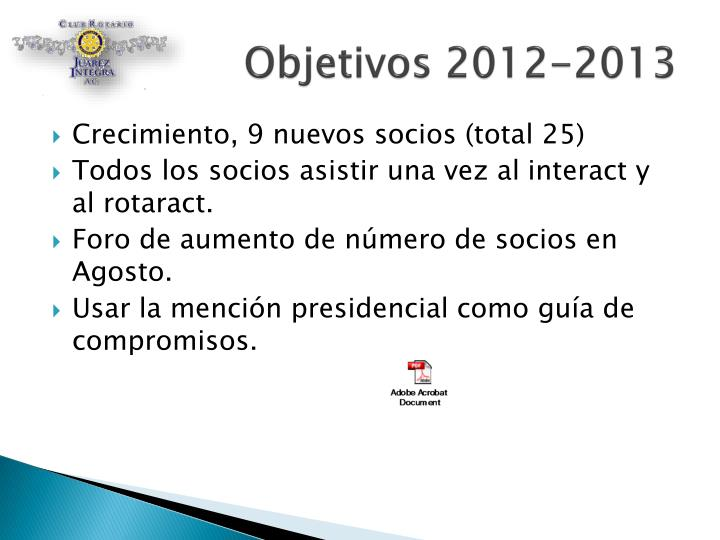 Objetivos 2012-2013