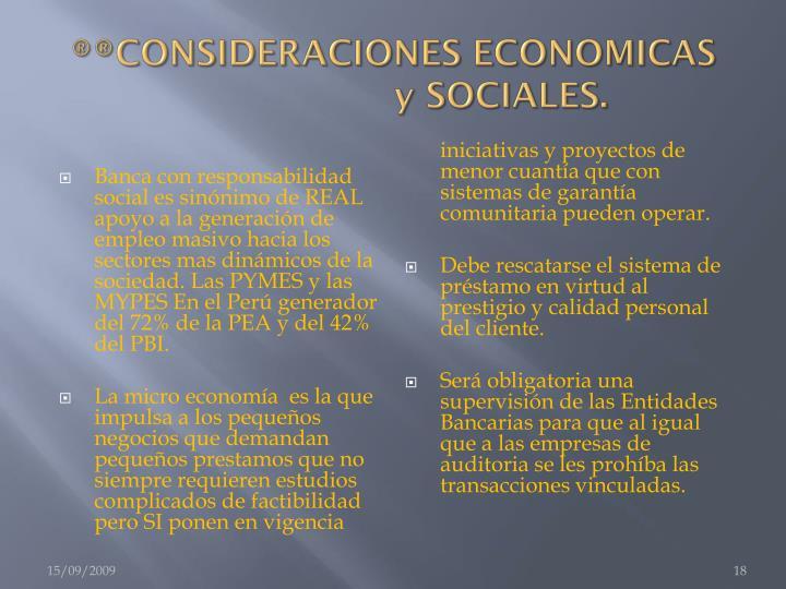 ®®CONSIDERACIONES ECONOMICAS