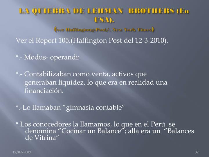 LA QUIEBRA DE LEHMAN  BROTHERS (En USA).
