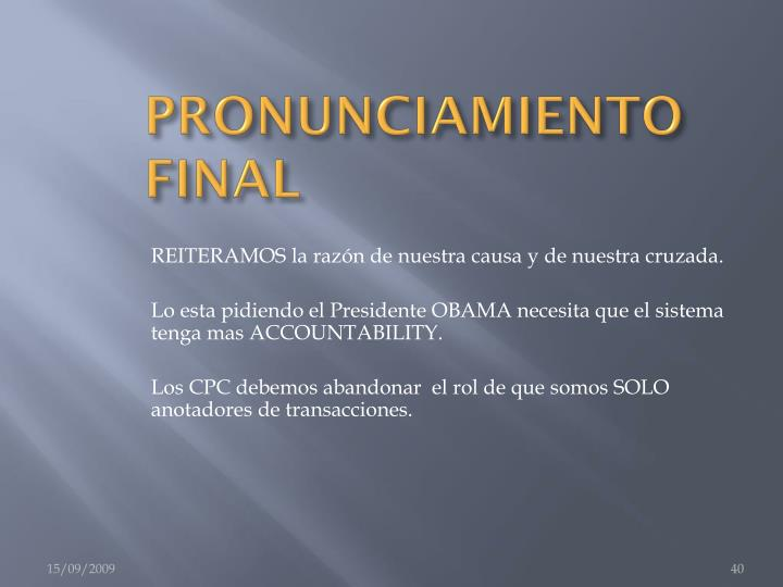 PRONUNCIAMIENTO FINAL