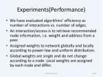 experiments performance