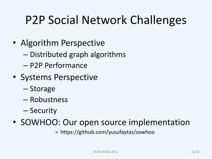 P2P Social Network Challenges