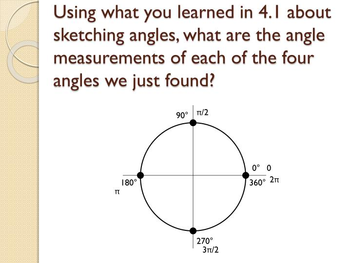 Using what you learned in 4.1 about sketching angles, what are the angle measurements of each of the four angles we just found?