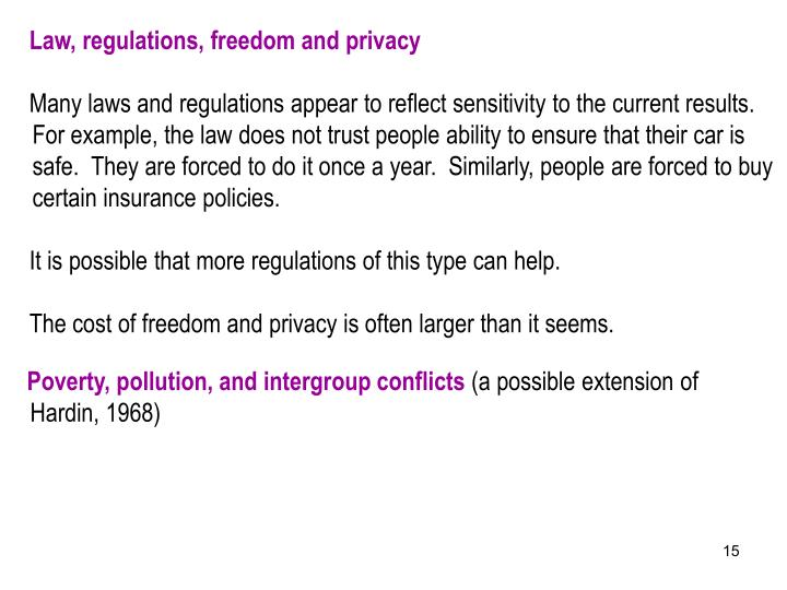 Law, regulations, freedom and privacy