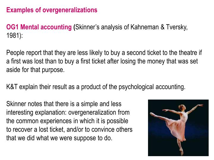Examples of overgeneralizations