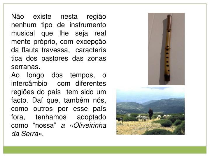 Não existe nesta região nenhum tipo de instrumento musical que lhe seja real mente próprio, com excepção da flauta travessa,  caracterís tica dos pastores das zonas serranas.