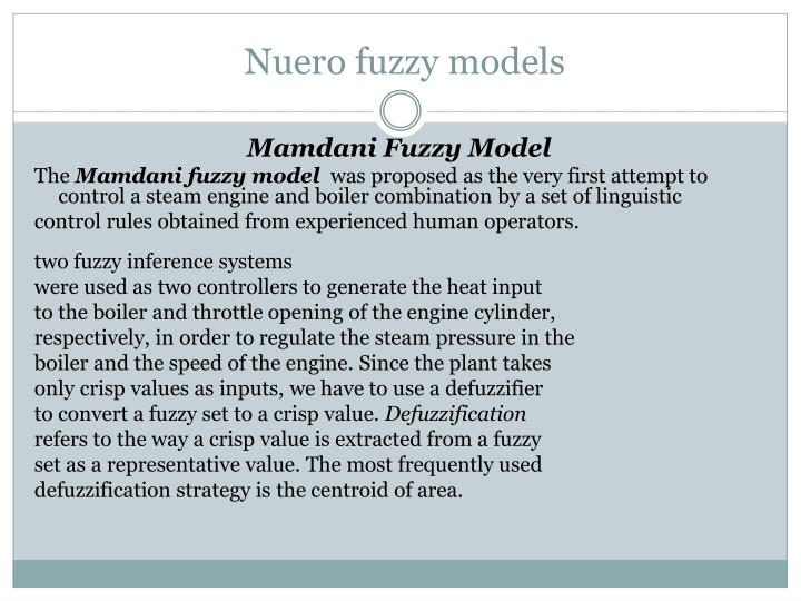 Nuero fuzzy models