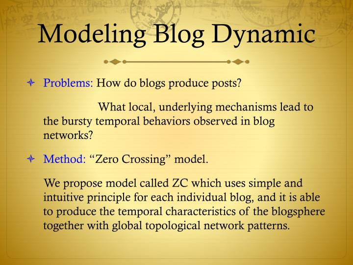 Modeling Blog Dynamic