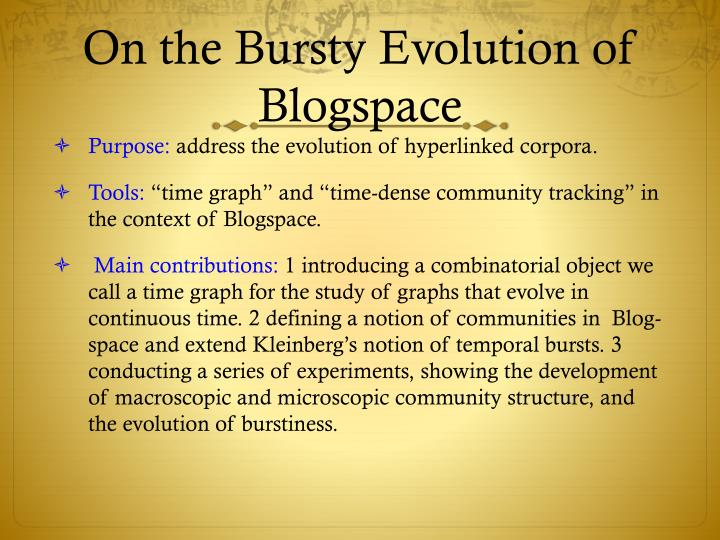 On the bursty evolution of blogspace