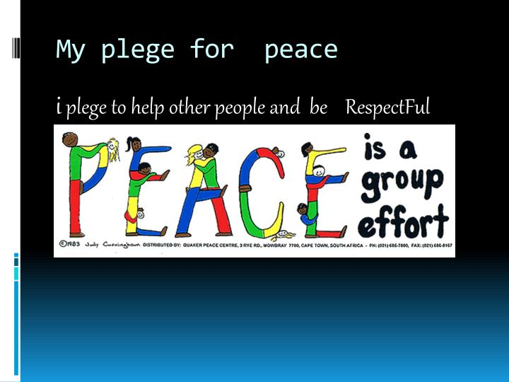 My plege for peace