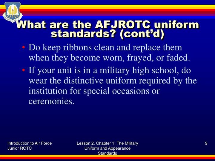 military appearance and uniform Each of the military services impose grooming standards on their military personnel, as part of their dress, appearance, or uniform regulations.
