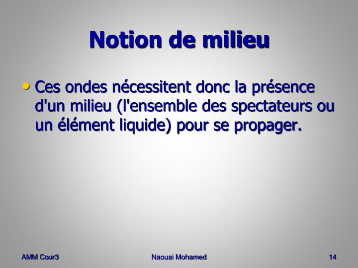 Notion de milieu