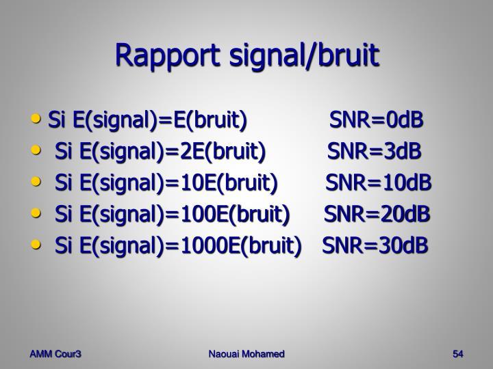 Rapport signal/bruit