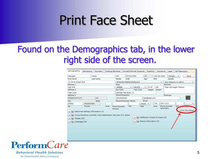 Print Face Sheet