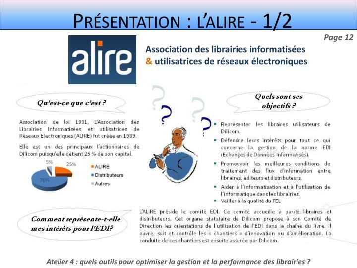 Présentation : l'alire - 1/2