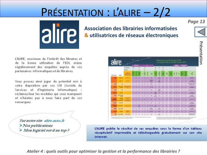 Présentation : l'alire – 2/2