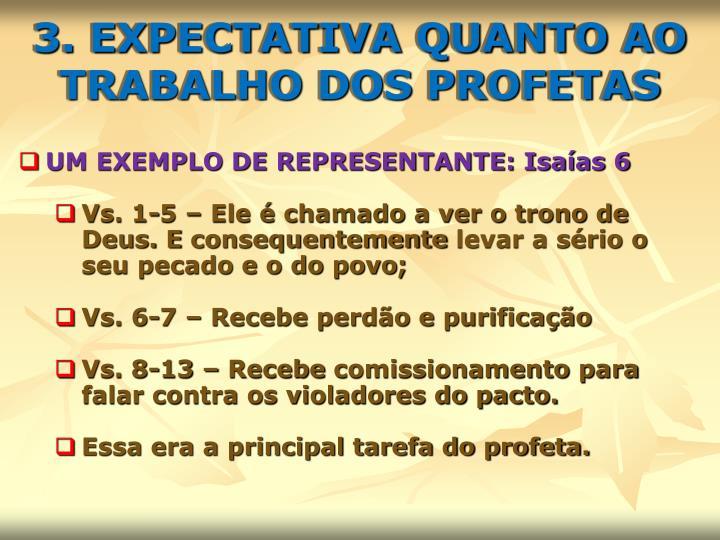 3. EXPECTATIVA QUANTO AO TRABALHO DOS PROFETAS