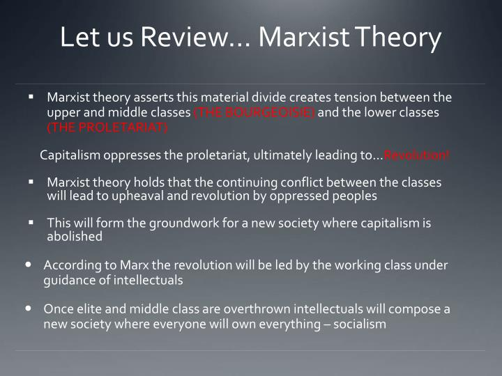 Let us Review… Marxist Theory