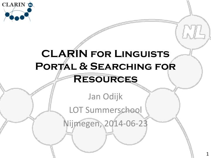 Clarin for linguists portal searching for resources