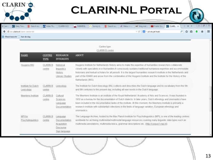 CLARIN-NL Portal