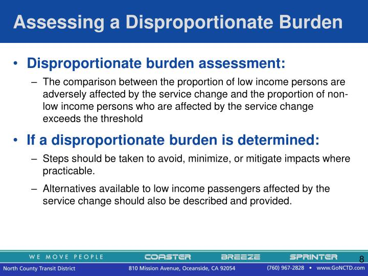 Assessing a Disproportionate Burden