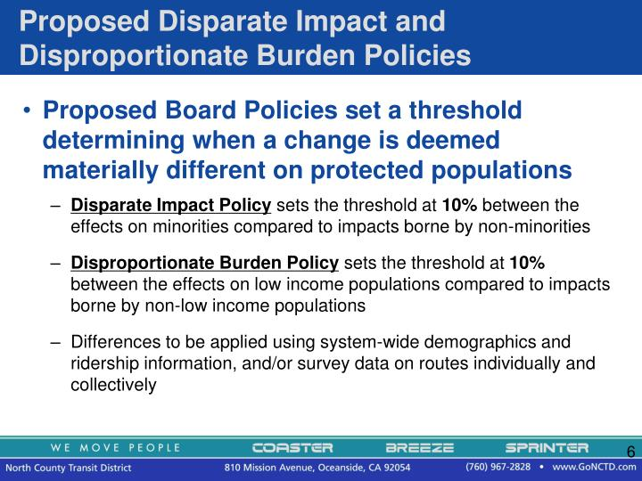 Proposed Disparate Impact and Disproportionate Burden Policies