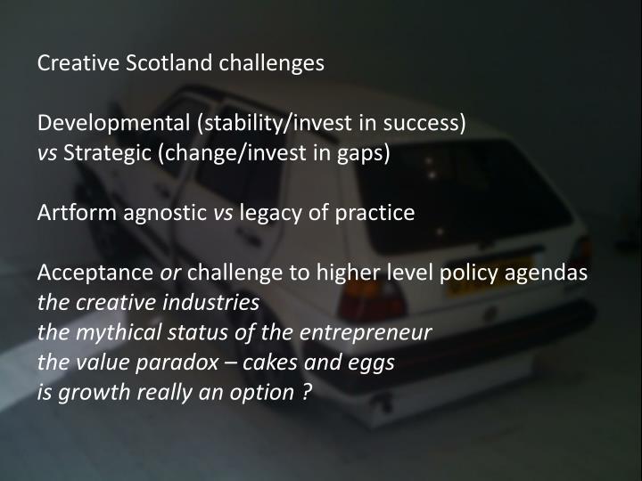 Creative Scotland challenges