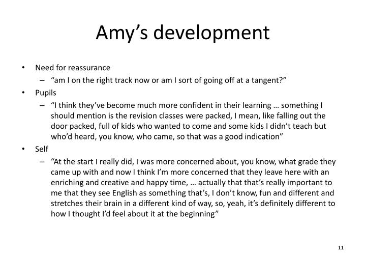 Amy's development