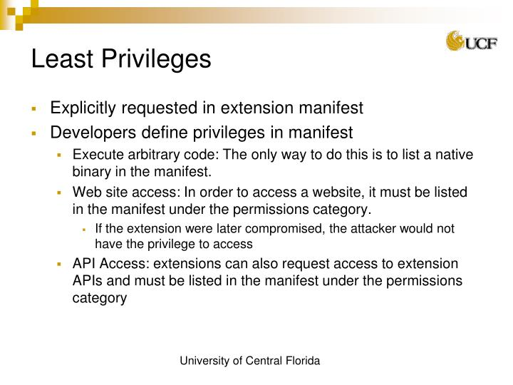 Least Privileges