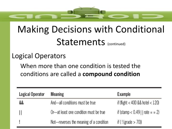 Making Decisions with Conditional Statements