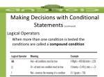 making decisions with conditional statements continued3