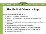 the medical calculator app cont d1