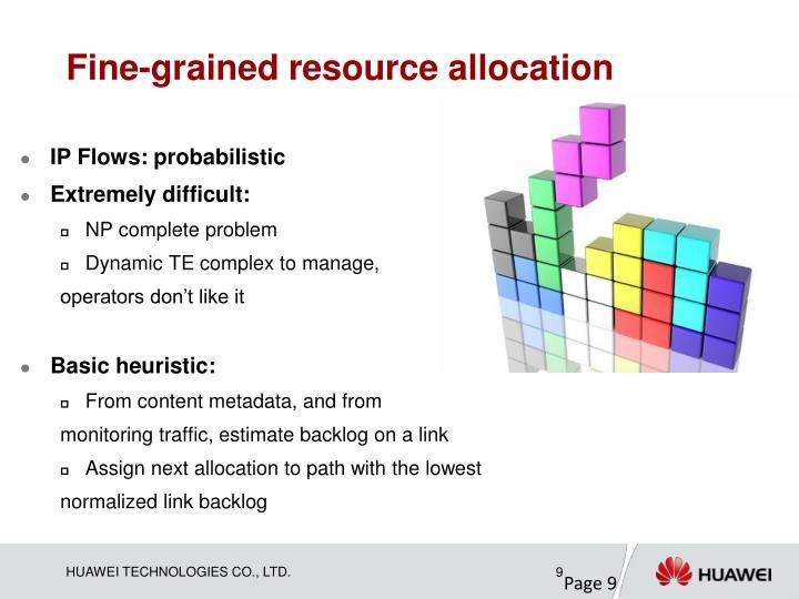 Fine-grained resource allocation