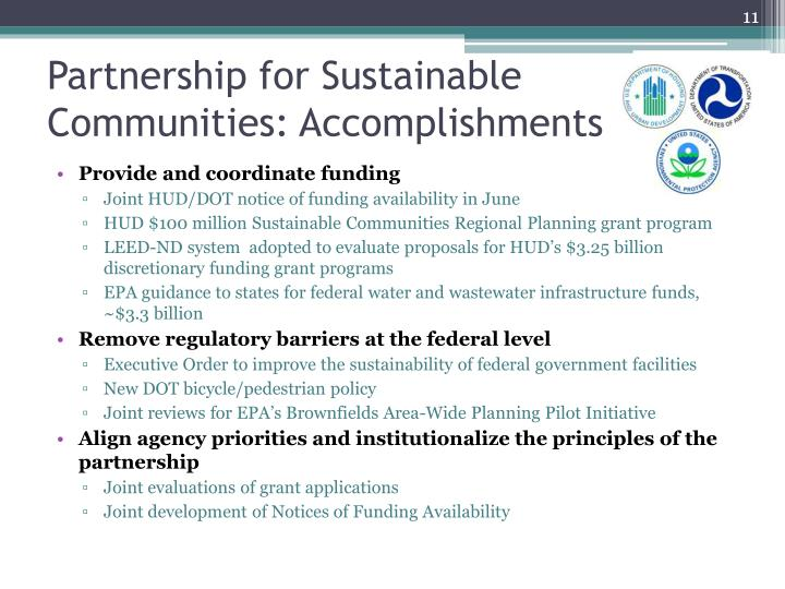 Partnership for Sustainable Communities: Accomplishments
