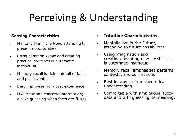 Perceiving & Understanding