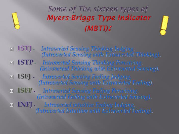 Some of The sixteen types of