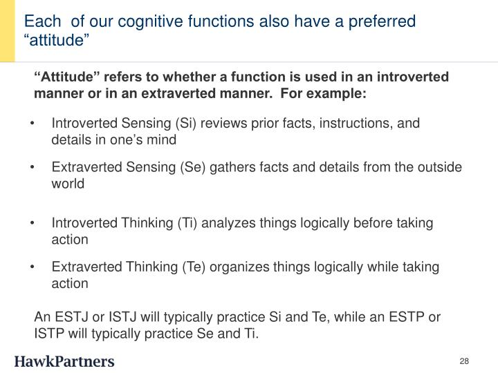 "Each  of our cognitive functions also have a preferred ""attitude"""